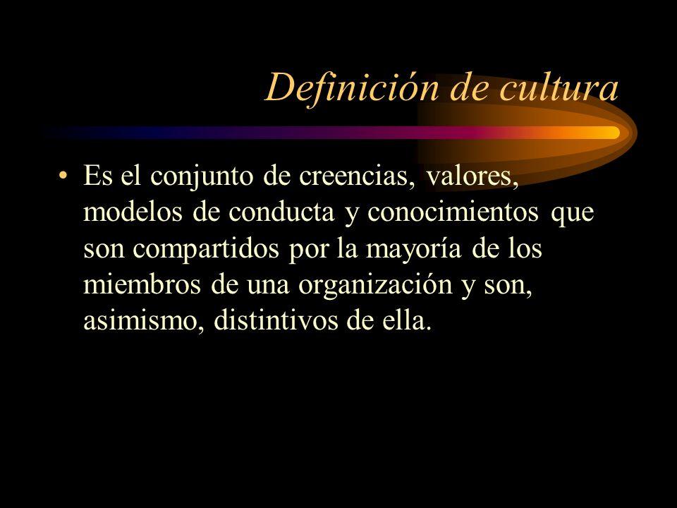 Definición de cultura Es el conjunto de creencias, valores, modelos de conducta y conocimientos que son compartidos por la mayoría de los miembros de