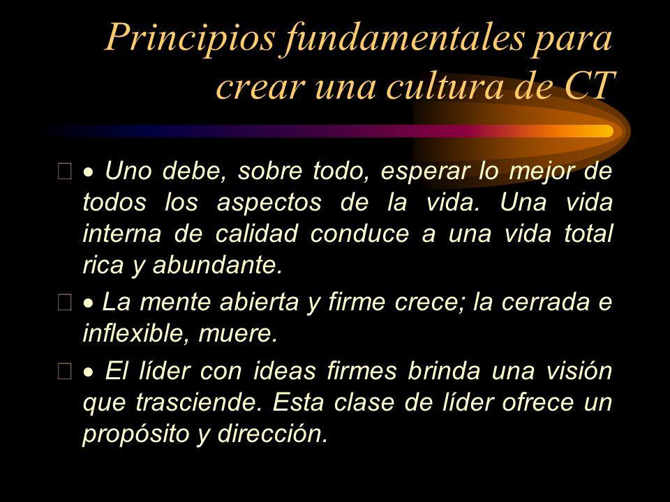 Principios fundamentales para crear una cultura de CT Uno debe, sobre todo, esperar lo mejor de todos los aspectos de la vida. Una vida interna de cal
