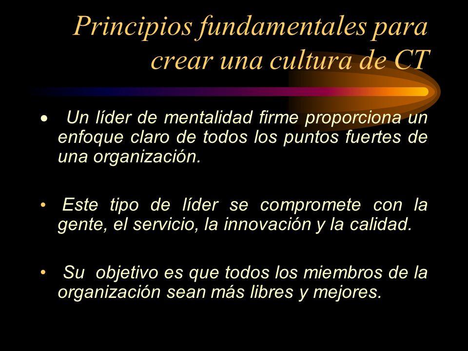 Principios fundamentales para crear una cultura de CT Un líder de mentalidad firme proporciona un enfoque claro de todos los puntos fuertes de una org