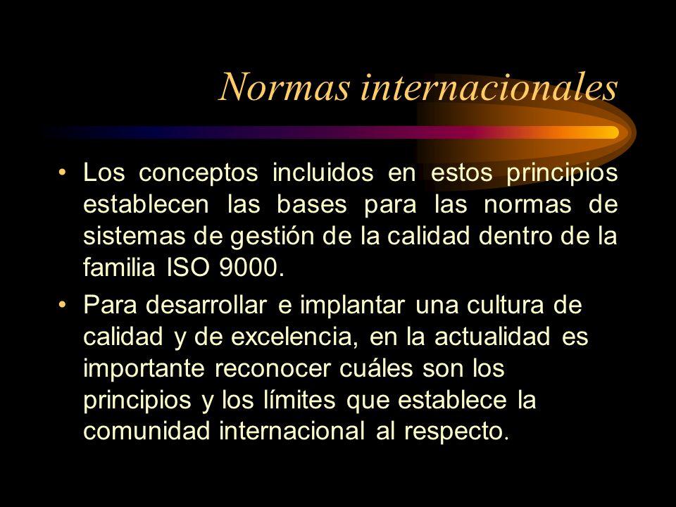 Normas internacionales Los conceptos incluidos en estos principios establecen las bases para las normas de sistemas de gestión de la calidad dentro de