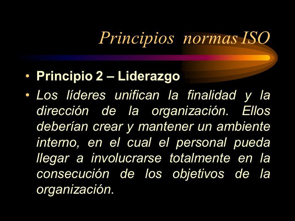 Principios normas ISO Principio 2 – Liderazgo Los líderes unifican la finalidad y la dirección de la organización. Ellos deberían crear y mantener un