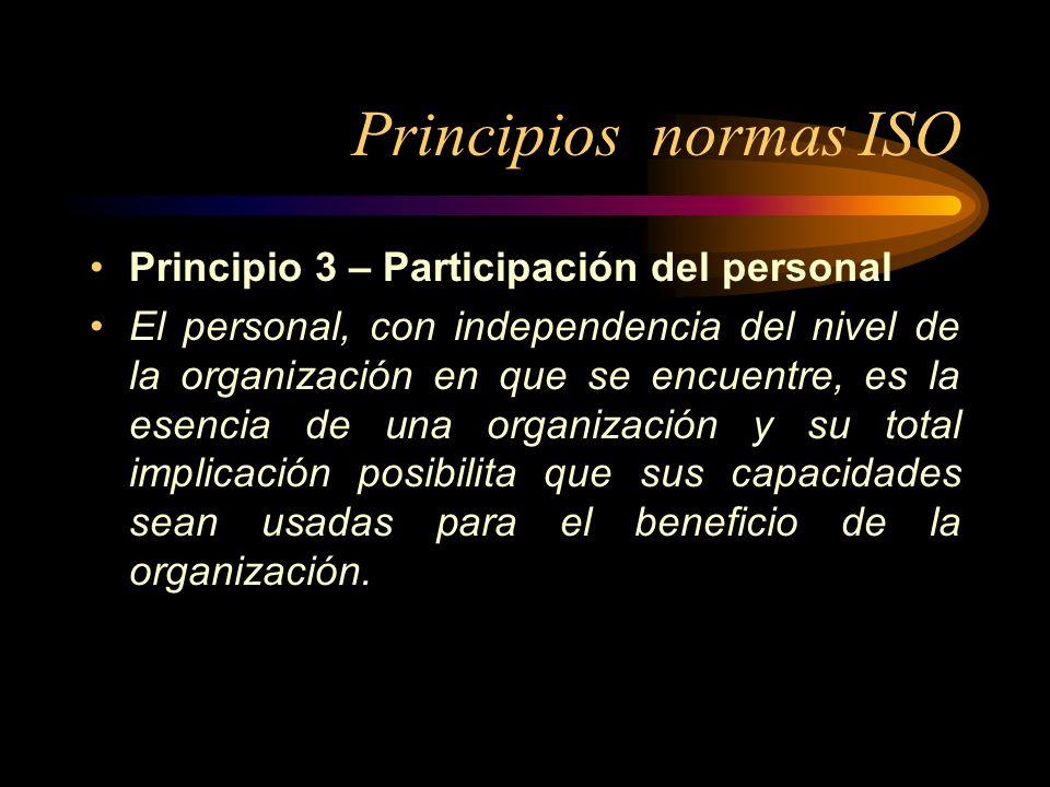 Principios normas ISO Principio 3 – Participación del personal El personal, con independencia del nivel de la organización en que se encuentre, es la