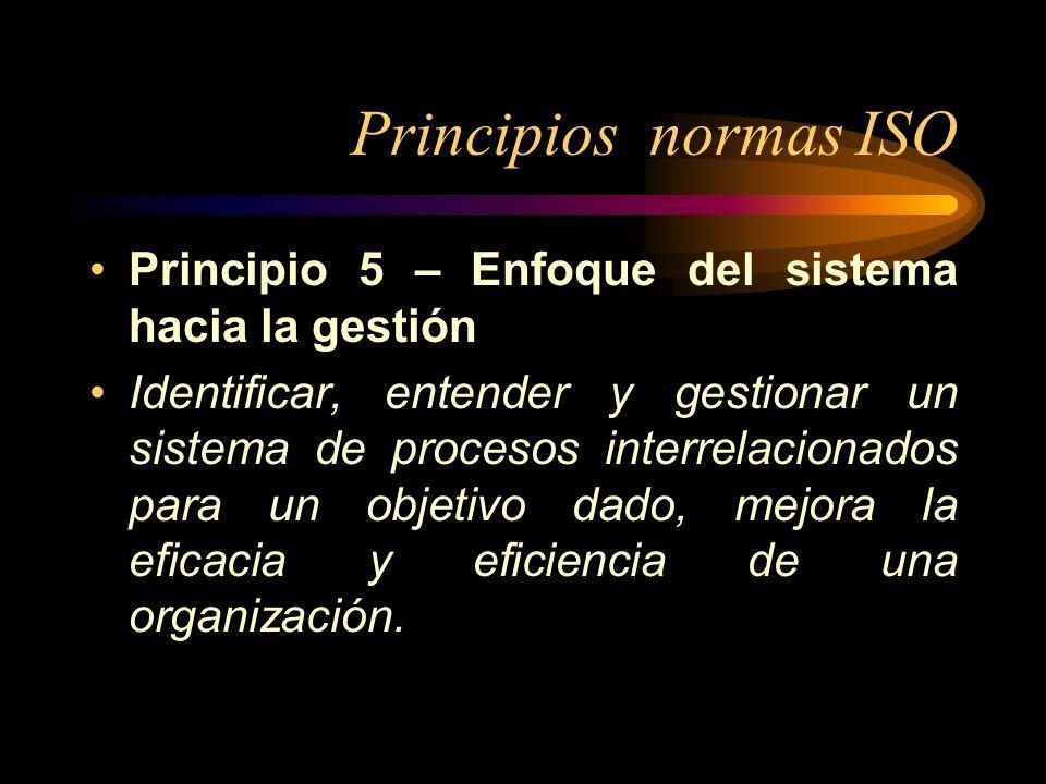 Principios normas ISO Principio 5 – Enfoque del sistema hacia la gestión Identificar, entender y gestionar un sistema de procesos interrelacionados pa