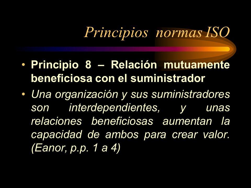 Principios normas ISO Principio 8 – Relación mutuamente beneficiosa con el suministrador Una organización y sus suministradores son interdependientes,
