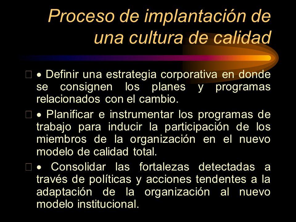Proceso de implantación de una cultura de calidad Definir una estrategia corporativa en donde se consignen los planes y programas relacionados con el