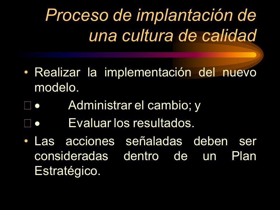 Proceso de implantación de una cultura de calidad Realizar la implementación del nuevo modelo. Administrar el cambio; y Evaluar los resultados. Las ac