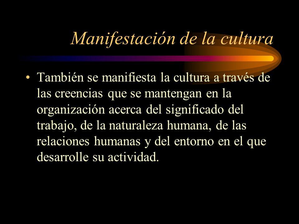 Manifestación de la cultura También se manifiesta la cultura a través de las creencias que se mantengan en la organización acerca del significado del