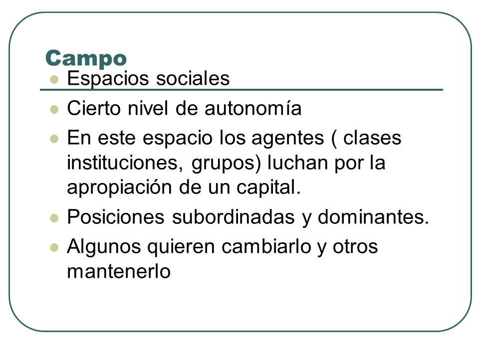 Campo Espacios sociales Cierto nivel de autonomía En este espacio los agentes ( clases instituciones, grupos) luchan por la apropiación de un capital.