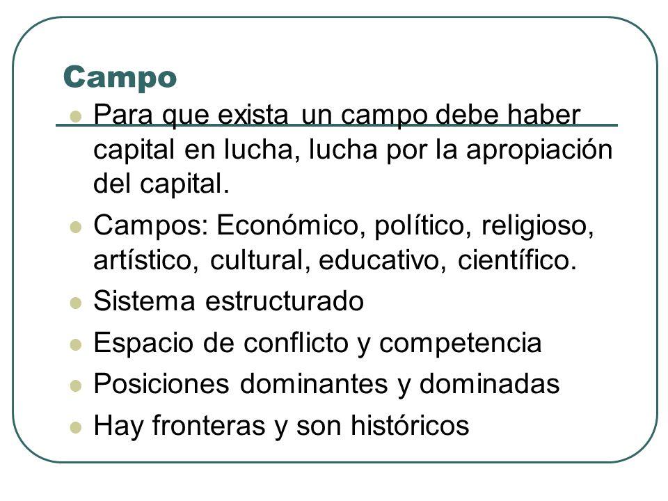 Campo Para que exista un campo debe haber capital en lucha, lucha por la apropiación del capital. Campos: Económico, político, religioso, artístico, c