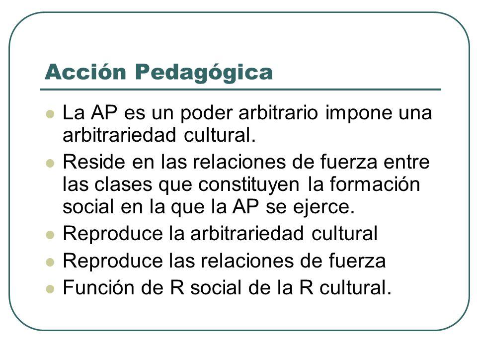 Acción Pedagógica La AP es un poder arbitrario impone una arbitrariedad cultural. Reside en las relaciones de fuerza entre las clases que constituyen
