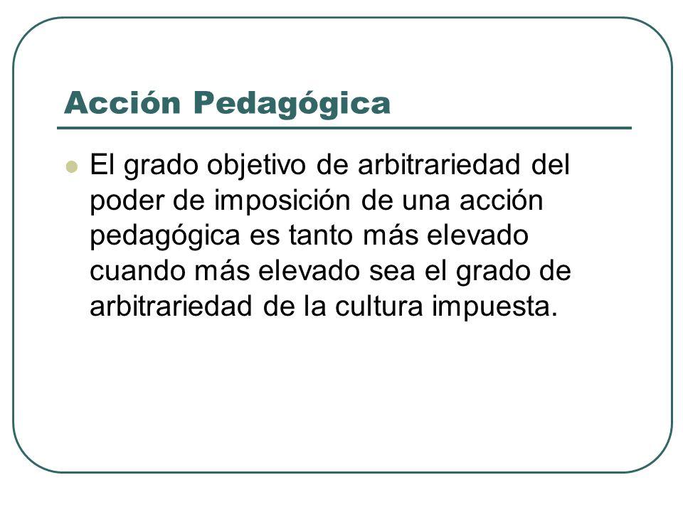 Acción Pedagógica El grado objetivo de arbitrariedad del poder de imposición de una acción pedagógica es tanto más elevado cuando más elevado sea el g