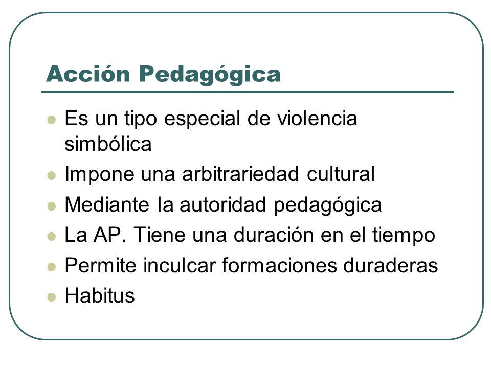 Acción Pedagógica Es un tipo especial de violencia simbólica Impone una arbitrariedad cultural Mediante la autoridad pedagógica La AP. Tiene una durac