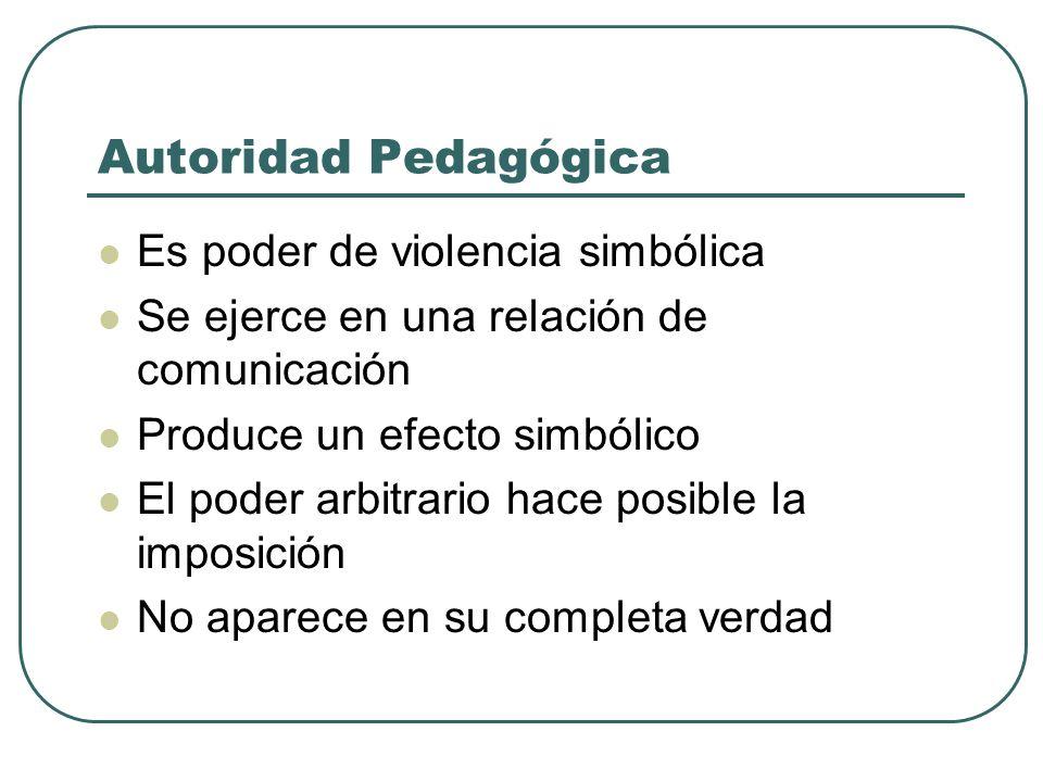 Autoridad Pedagógica Es poder de violencia simbólica Se ejerce en una relación de comunicación Produce un efecto simbólico El poder arbitrario hace po