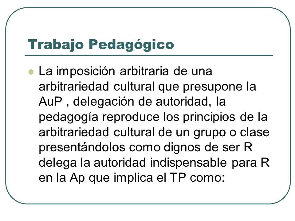 Trabajo Pedagógico La imposición arbitraria de una arbitrariedad cultural que presupone la AuP, delegación de autoridad, la pedagogía reproduce los pr