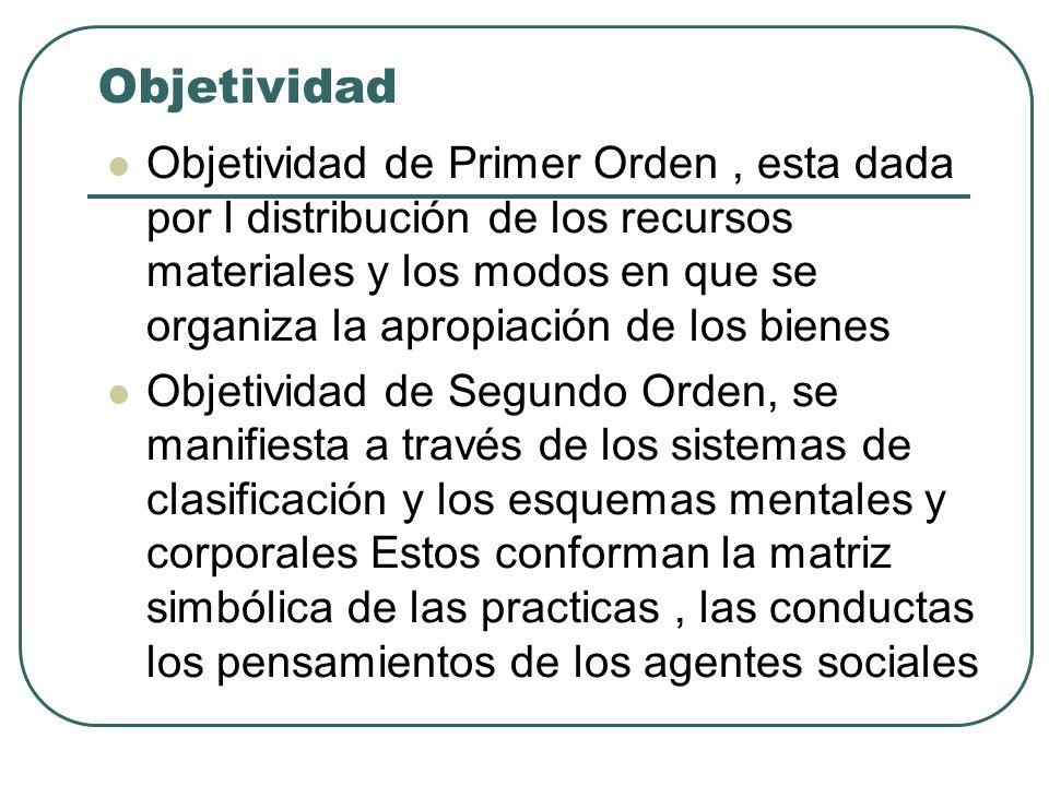 Objetividad Objetividad de Primer Orden, esta dada por l distribución de los recursos materiales y los modos en que se organiza la apropiación de los