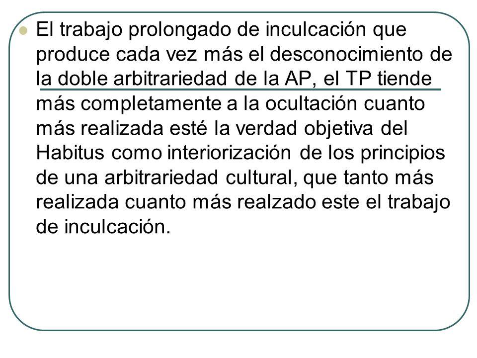 El trabajo prolongado de inculcación que produce cada vez más el desconocimiento de la doble arbitrariedad de la AP, el TP tiende más completamente a