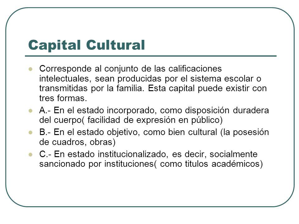 Capital Cultural Corresponde al conjunto de las calificaciones intelectuales, sean producidas por el sistema escolar o transmitidas por la familia. Es