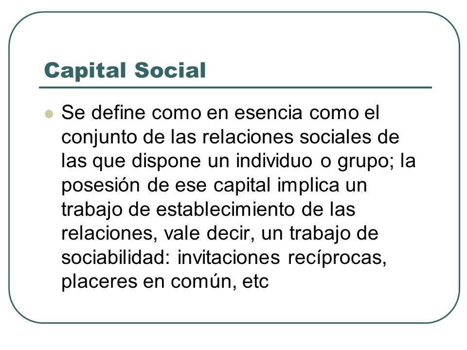 Capital Social Se define como en esencia como el conjunto de las relaciones sociales de las que dispone un individuo o grupo; la posesión de ese capit