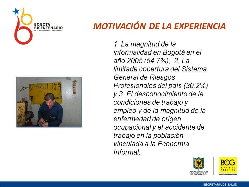 MOTIVACIÓN DE LA EXPERIENCIA 1. La magnitud de la informalidad en Bogotá en el año 2005 (54.7%), 2.