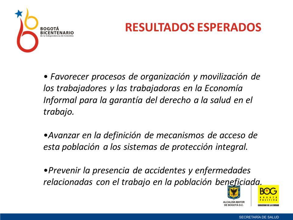 RESULTADOS ESPERADOS Favorecer procesos de organización y movilización de los trabajadores y las trabajadoras en la Economía Informal para la garantía del derecho a la salud en el trabajo.