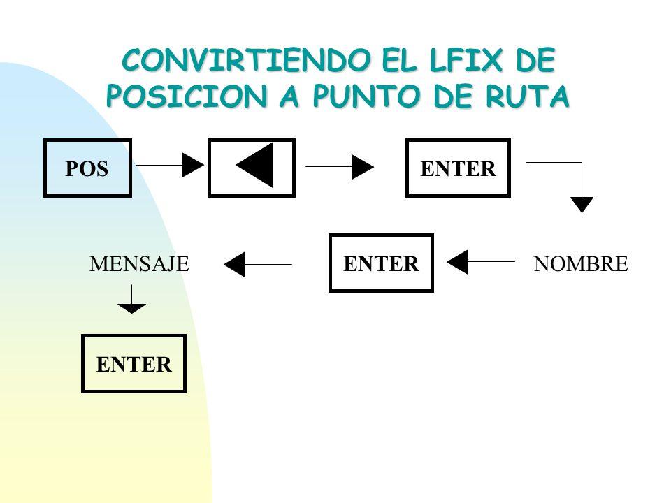 CONVIRTIENDO EL LFIX DE POSICION A PUNTO DE RUTA POSENTER NOMBRE ENTER MENSAJE ENTER