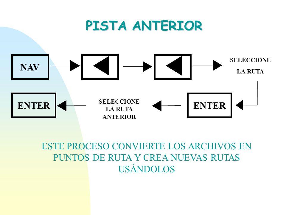 PISTA ANTERIOR NAV SELECCIONE LA RUTA ENTER SELECCIONE LA RUTA ANTERIOR ESTE PROCESO CONVIERTE LOS ARCHIVOS EN PUNTOS DE RUTA Y CREA NUEVAS RUTAS USÁN