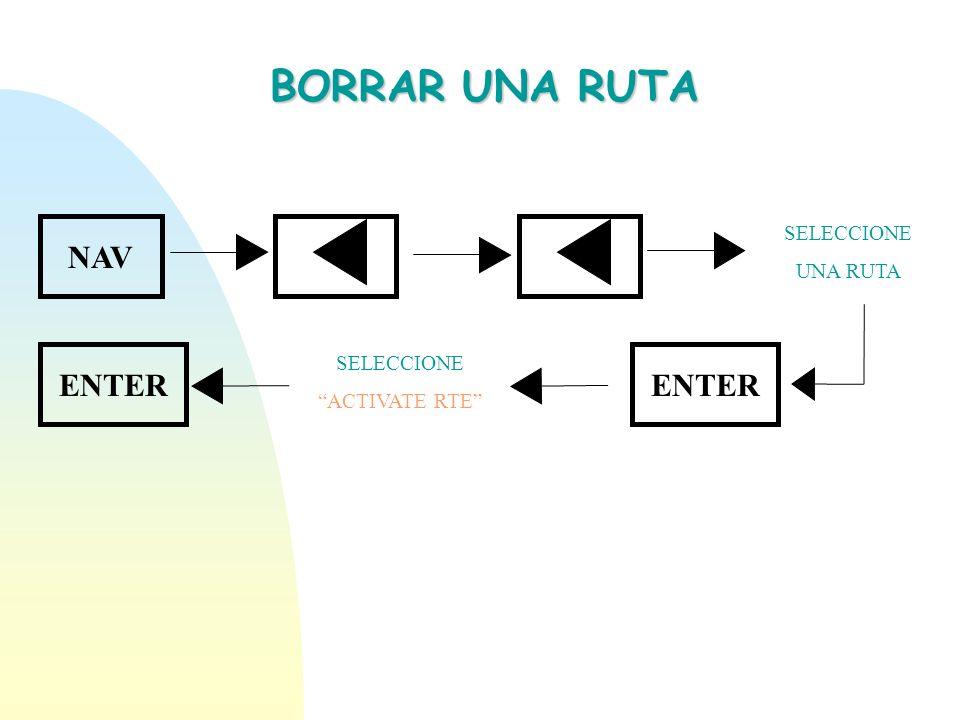 BORRAR UNA RUTA NAV ENTER SELECCIONE ACTIVATE RTE SELECCIONE UNA RUTA