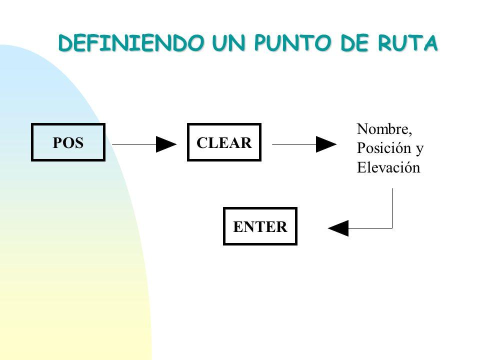 DEFINIENDO UN PUNTO DE RUTA POSCLEAR Nombre, Posición y Elevación ENTER