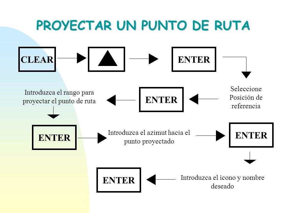 PROYECTAR UN PUNTO DE RUTA CLEARENTER Seleccione Posición de referencia ENTER Introduzca el rango para proyectar el punto de ruta Introduzca el azimut