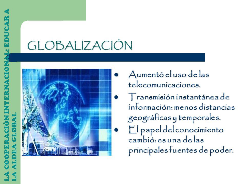 LA COOPERACIÓN INTERNACIONAL: EDUCAR A LA ALDEA GLOBAL Aumentó el uso de las telecomunicaciones. Aumentó el uso de las telecomunicaciones. Transmisión