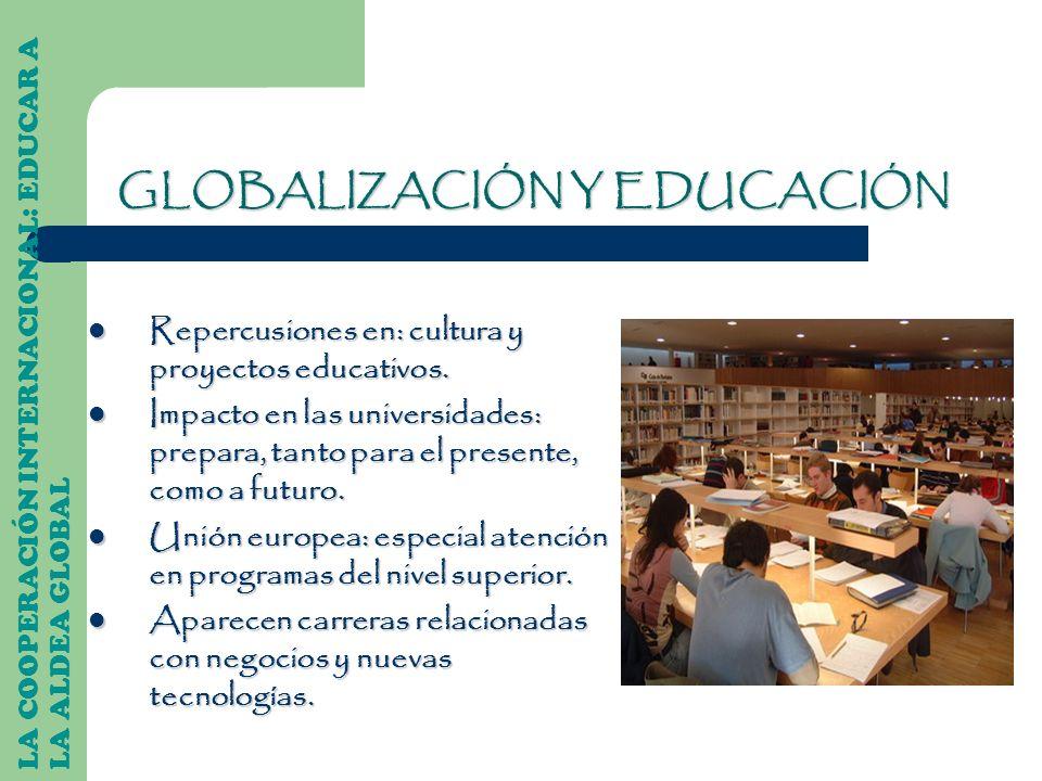 LA COOPERACIÓN INTERNACIONAL: EDUCAR A LA ALDEA GLOBAL Repercusiones en: cultura y proyectos educativos. Repercusiones en: cultura y proyectos educati