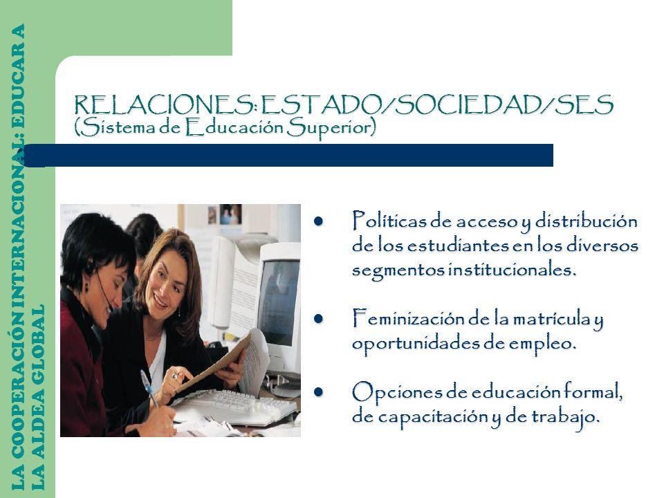 LA COOPERACIÓN INTERNACIONAL: EDUCAR A LA ALDEA GLOBAL Políticas de acceso y distribución de los estudiantes en los diversos segmentos institucionales