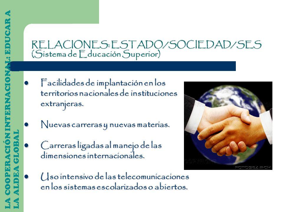 LA COOPERACIÓN INTERNACIONAL: EDUCAR A LA ALDEA GLOBAL Facilidades de implantación en los territorios nacionales de instituciones extranjeras. Facilid