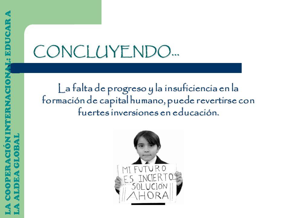LA COOPERACIÓN INTERNACIONAL: EDUCAR A LA ALDEA GLOBAL La falta de progreso y la insuficiencia en la formación de capital humano, puede revertirse con
