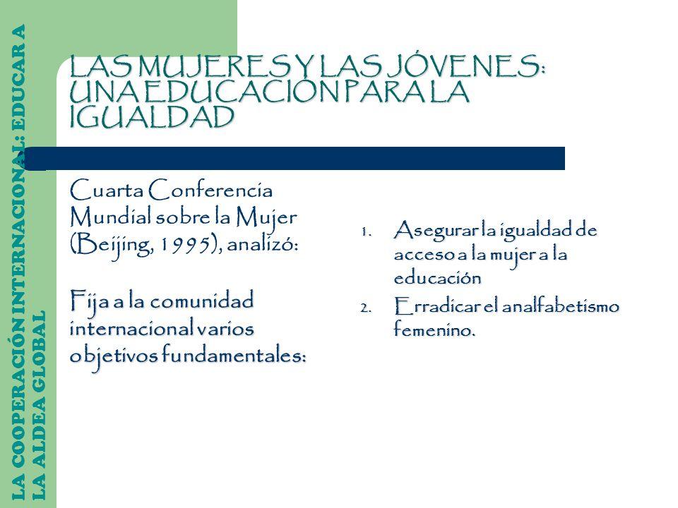 LAS MUJERES Y LAS JÓVENES: UNA EDUCACIÓN PARA LA IGUALDAD Cuarta Conferencia Mundial sobre la Mujer (Beijing, 1995), analizó: Fija a la comunidad inte