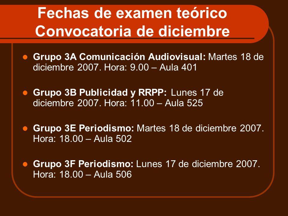 Fechas de examen teórico Convocatoria de diciembre Grupo 3A Comunicación Audiovisual: Martes 18 de diciembre 2007. Hora: 9.00 – Aula 401 Grupo 3B Publ