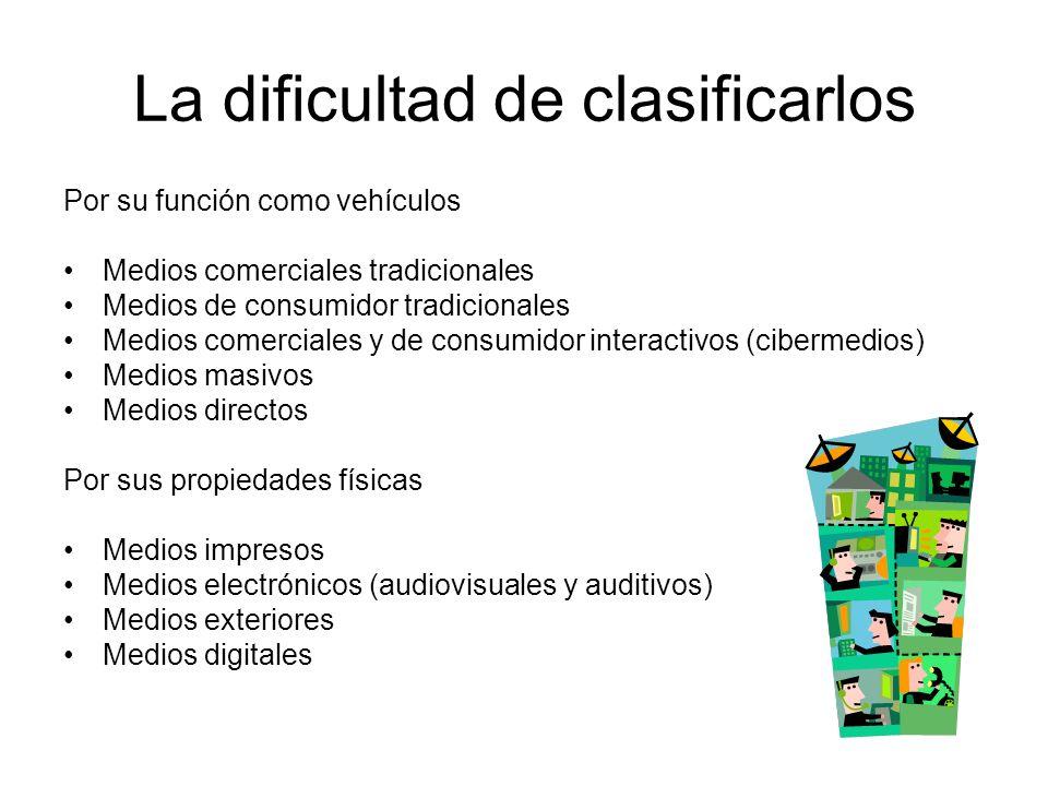 La dificultad de clasificarlos Por su función como vehículos Medios comerciales tradicionales Medios de consumidor tradicionales Medios comerciales y de consumidor interactivos (cibermedios) Medios masivos Medios directos Por sus propiedades físicas Medios impresos Medios electrónicos (audiovisuales y auditivos) Medios exteriores Medios digitales