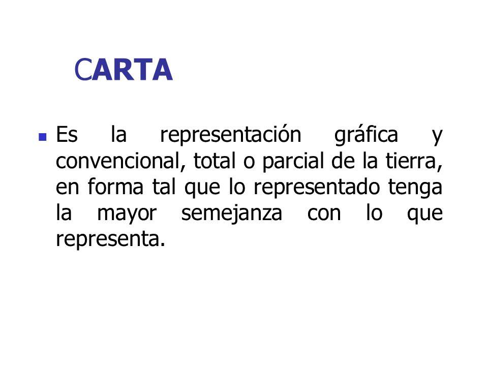 CARTA Es la representación gráfica y convencional, total o parcial de la tierra, en forma tal que lo representado tenga la mayor semejanza con lo que representa.