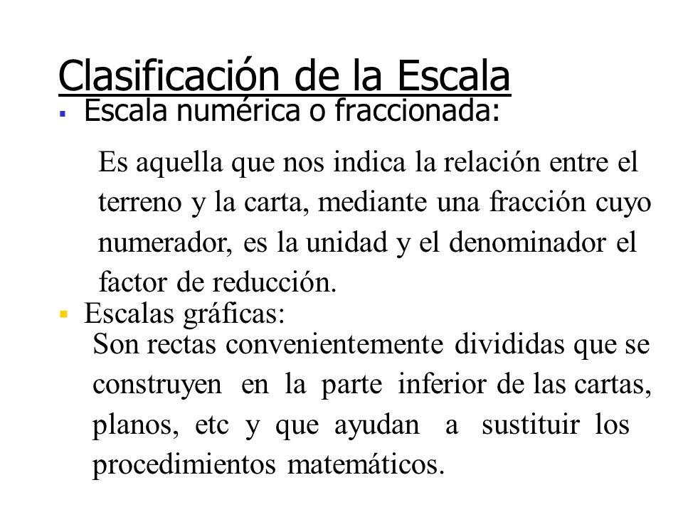 Es la relación constante que existe entre las dimensiones consideradas en una carta y las correspondientes del elemento representado Escala 1 unidad e