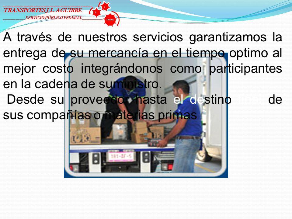 A través de nuestros servicios garantizamos la entrega de su mercancía en el tiempo optimo al mejor costo integrándonos como participantes en la caden