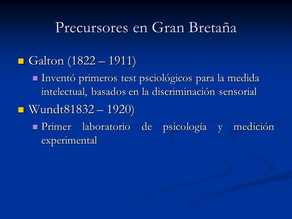 Precursores en Gran Bretaña Galton (1822 – 1911) Galton (1822 – 1911) Inventó primeros test psciológicos para la medida intelectual, basados en la discriminación sensorial Inventó primeros test psciológicos para la medida intelectual, basados en la discriminación sensorial Wundt81832 – 1920) Wundt81832 – 1920) Primer laboratorio de psicología y medición experimental Primer laboratorio de psicología y medición experimental
