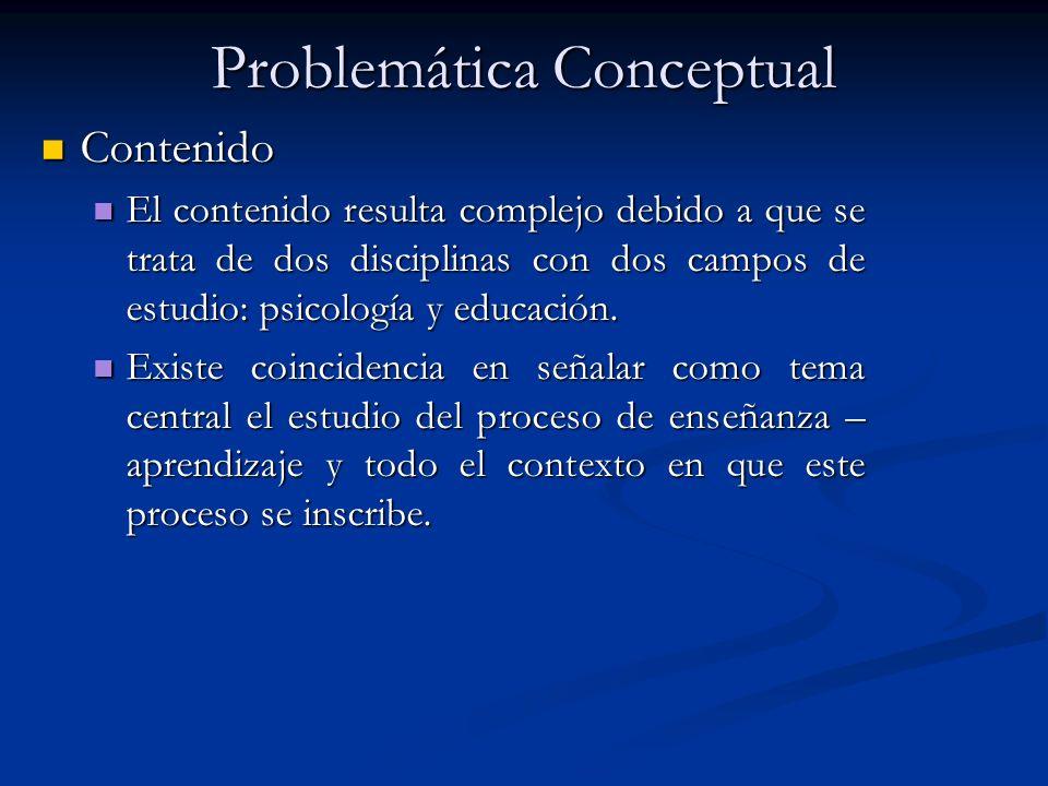 Problemática Conceptual Contenido Contenido El contenido resulta complejo debido a que se trata de dos disciplinas con dos campos de estudio: psicología y educación.