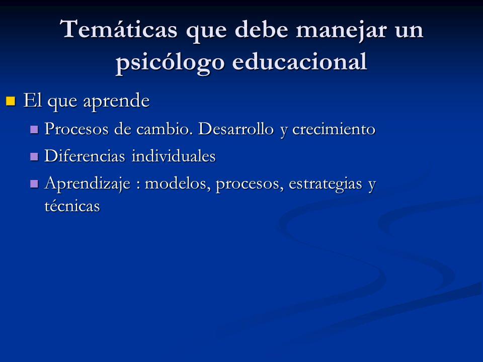 Temáticas que debe manejar un psicólogo educacional El que aprende El que aprende Procesos de cambio.