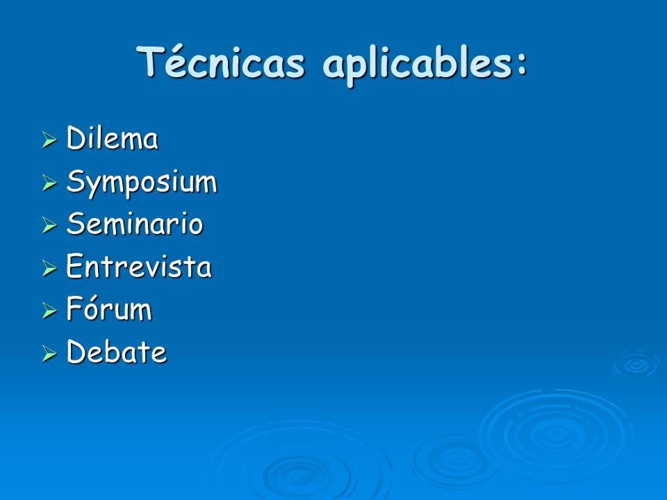 Técnicas aplicables: Dilema Dilema Symposium Symposium Seminario Seminario Entrevista Entrevista Fórum Fórum Debate Debate