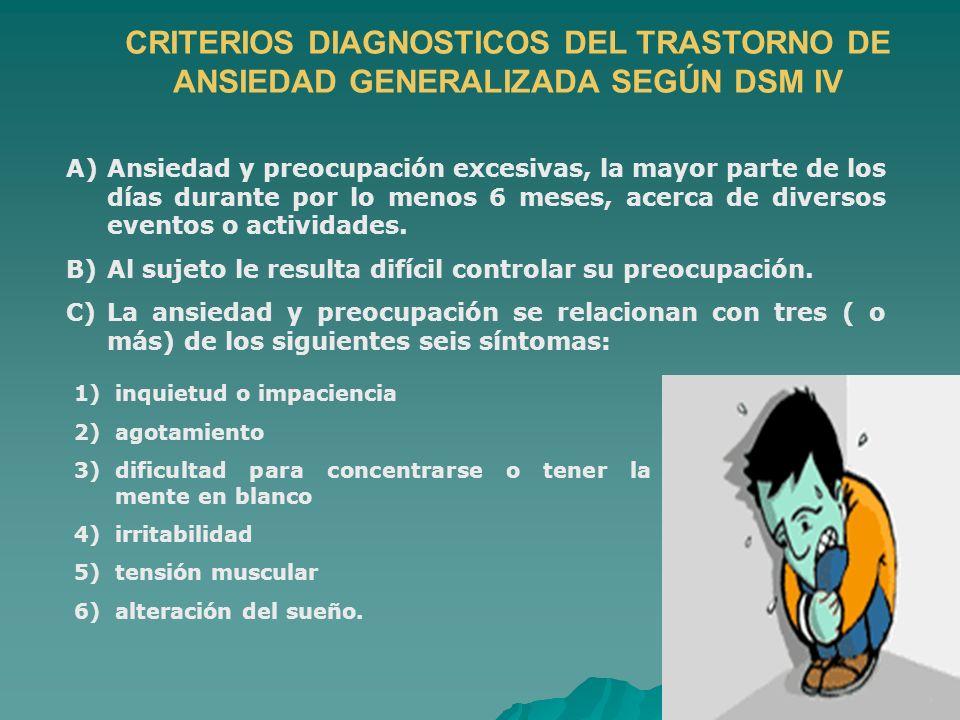 CRITERIOS DIAGNOSTICOS DEL TRASTORNO DE ANSIEDAD GENERALIZADA SEGÚN DSM IV A)Ansiedad y preocupación excesivas, la mayor parte de los días durante por