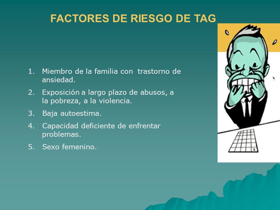 FACTORES DE RIESGO DE TAG 1.Miembro de la familia con trastorno de ansiedad. 2.Exposición a largo plazo de abusos, a la pobreza, a la violencia. 3. Ba