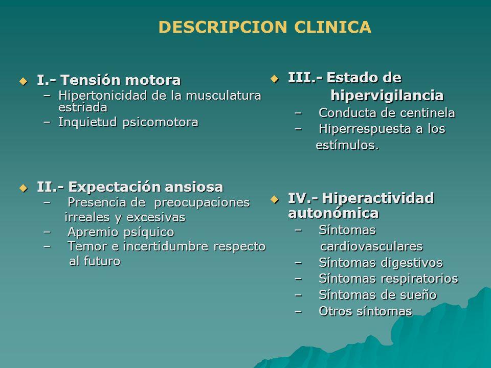 DESCRIPCION CLINICA I.- Tensión motora I.- Tensión motora –Hipertonicidad de la musculatura estriada –Inquietud psicomotora II.- Expectación ansiosa I