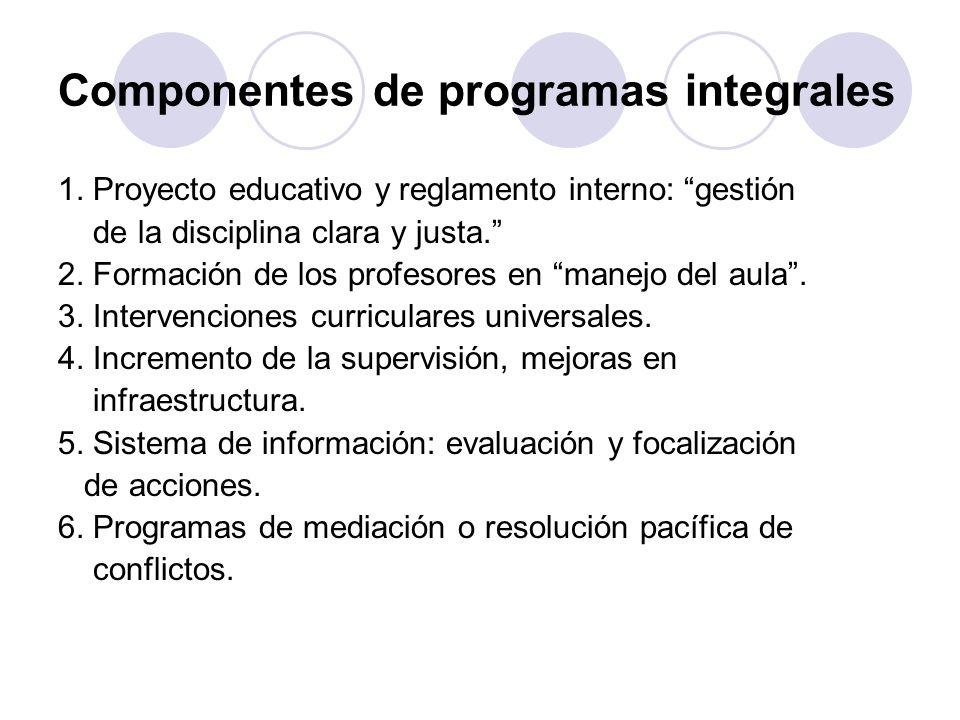 Componentes de programas integrales 1. Proyecto educativo y reglamento interno: gestión de la disciplina clara y justa. 2. Formación de los profesores