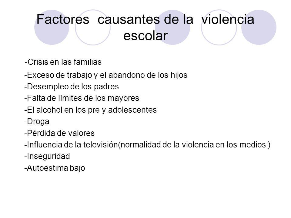 Factores causantes de la violencia escolar -Crisis en las familias -Exceso de trabajo y el abandono de los hijos -Desempleo de los padres -Falta de lí