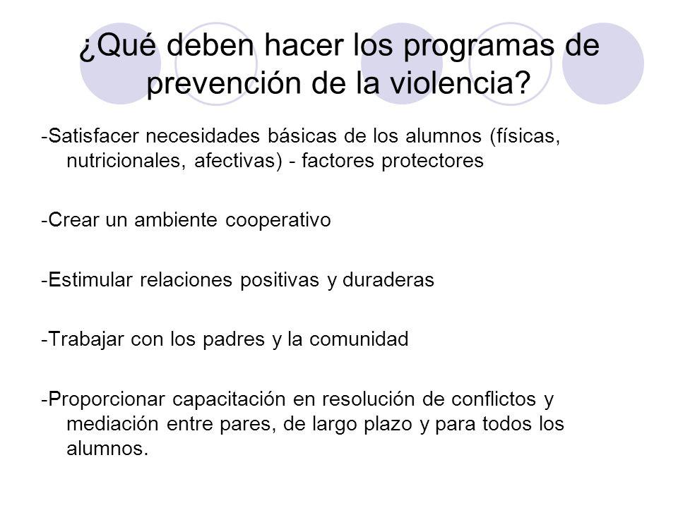 ¿Qué deben hacer los programas de prevención de la violencia? -Satisfacer necesidades básicas de los alumnos (físicas, nutricionales, afectivas) - fac